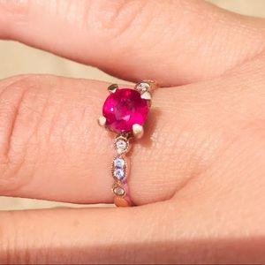 Natural ruby, diamonds & 18k gold